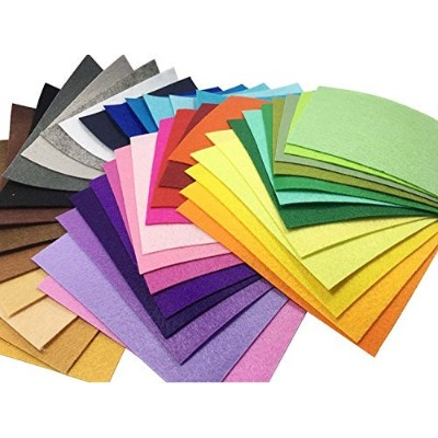 "(15x15cm) - 42pcs 6"" x 6"" (15x15cm) 1mm Thick Acrylic stiff Felt Nonwoven Fabric Sheet Pack DIY..."