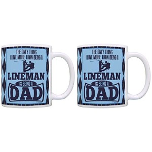 DadギフトのみThing Love More Than Being A Linemanギフトコーヒーマグティーカップ 11オンス