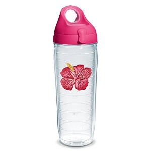 Tervis 1231570ハイビスカスピンクTumbler with Emblem and Passionピンク蓋24oz水ボトル、クリア