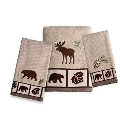 (Towel Set (Bath, Hand and Fingertip), Oatmeal) - Saturday Knight Natures Trail Towel Set (Bath,...