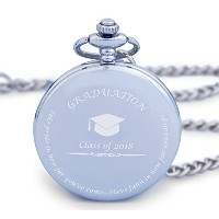 Pocket Watch for Graduation 2018 – Engraved 'クラスの2018 ' – 2018 – 完璧な卒業ギフトヴィンテージスタイルポケットFob Watch...