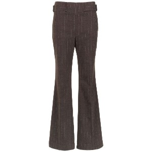Egrey pinstripe flared trousers - ブラウン