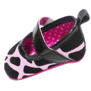 """Cow Print Shoes For Baby Girl inピンク&ブラック3–6ヶ月( 3.75""""インソール)"""