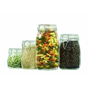 4-Piece Round Glass Cainseter Set with Clamp Top Lid by Anchor Hocking