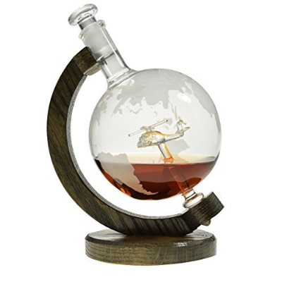 Helicopter within Etched Globe Liquor Decanter - Scotch Whiskey Decanter - 1000ml Glass Decanter...