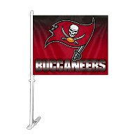 High Qualityay Buccaneers Car Flag with Wall Brackett, One Size, White
