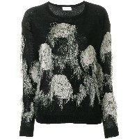 Christian Wijnants frayed floral embroidered sweater - ブルー