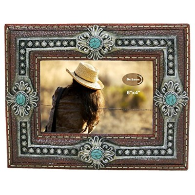 Decorative Picture Frame 6 X 4 Photo - Faux Leather, Turquoise Concho Details Western Southwestern D?cor by Deleon Collections