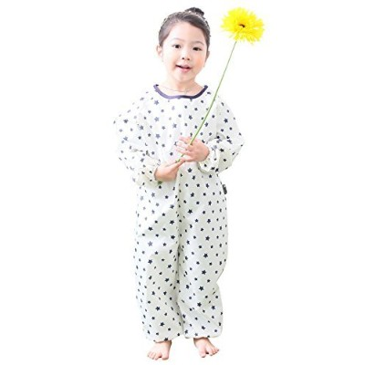 Plie Little Girls ' Waterproof All - in - OneアートSmock L ホワイト ONE01-27-L