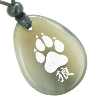 Lucky Wolf Paw漢字Good Luck Amulet天然瑪瑙ペンダントネックレス