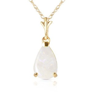 """K14 18"""" Yellow Gold Natural Pear-shaped Opal Drop Pendant Necklace"""