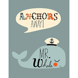 "Oopsy Daisy Fine Art for Kids Anchors Away Mr。Whaleキャンバス壁アートby Amy Blay 14 x 18"" NB21815"