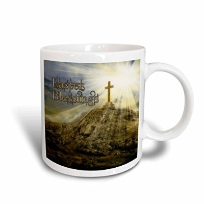 (330ml) - 3dRose mug_127621_1 Easter Cross on The Hill with The Suns Rays Shining Down Digital...