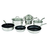 Allrecipes 10 Piece Two-Tone Stainless Steel Cookware Set With 3-Ply Base To Evenly Distribute Heat...