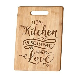 This Kitchen is Seasoned with Love 竹製まな板 ハンドル付き
