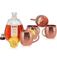 Moscow Mule Copper Mugs, Pure Hammered Solid Copper. Handcrafted 21 Gauge Copper Cup with No Inner...