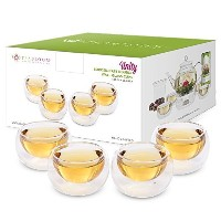 teabloom Tea Cups – 二重壁断熱Glasses – Set of 4 Heat Resistantホウケイ酸Tea andエスプレッソカップ3.4 Oz / 100 ml )
