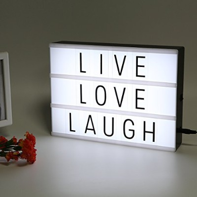 LitEnergy Light Up Your Life a4サイズCinematicライトボックスwith Letters and LEDライト ブラック COMINU032447