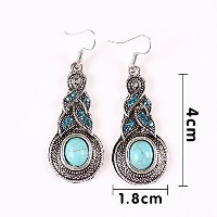 Tibetan Silver Oval Rimous Turquoise Crystal Drop Dangle Earrings