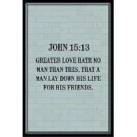 jsc601John 15: 13Bible verseポスターグレーブラック  18-inches by 12-inches   Motivational Inspirational教育Rel...