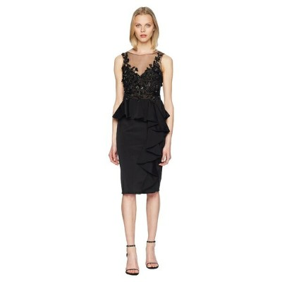 マルケサノット レディース ワンピース トップス Sleeveless Embroidered Stretch Faille Cocktail w/ 3D Beading and Ruffles...