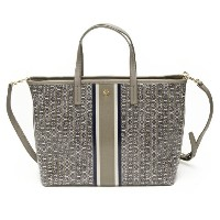 TORY BURCH トリーバーチ トートバッグ GEMINI LINK SMALL TOTE FRENCH GRAY GEMINI LINK STRIPE グレー 43896 048 【楽ギフ...