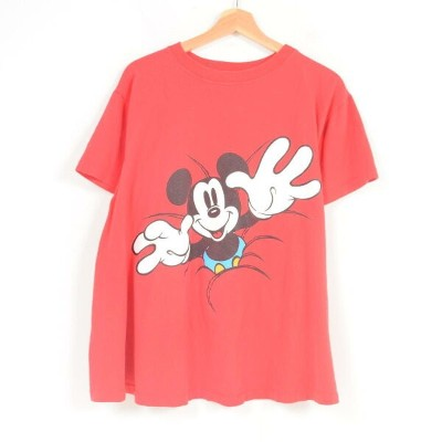 MICKEY&CO. MICKEY MOUSE ミッキーマウス 両面プリント ディズニー キャラクタープリントTシャツ USA製 レディースXL /war1186 【中古】 【180505】