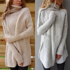 US Women Casual Long Sleeve Cowl Neck Pullover Loose Sweater Jumper Top Knitwear