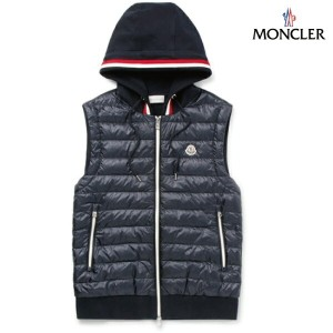 MONCLER モンクレール 2018年春夏新作 メンズ Slim-Fit Quilted Shell And Loopback Cotton-Jersey Hooded Gilet ネイビー ベスト