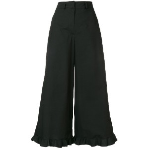 L'Autre Chose frill hem cropped palazzo trousers - ブラック