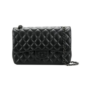 Chanel Vintage quilted double flap bag - ブラック