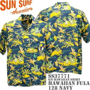 SUN SURF サンサーフアロハシャツ HAWAIIAN SHIRTHAWAIIAN FULASS37771-128 Navy