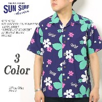 """SUN SURF サンサーフ S/S COTTON TYPEWRITER OPEN SHIRT """"ABSTRACT FLOWER"""" by Masked Marvel SS37922"""