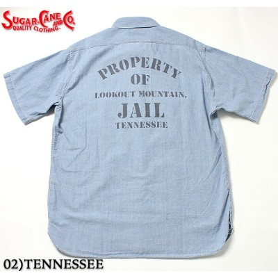 No.SC37938 SUGAR CANEシュガーケーンFICTION ROMANCE5oz. BLUE CHAMBRAYJAIL/PRISON SHIRT