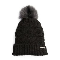 マイケルコース レディース 帽子 アクセサリー MICHAEL Michael Kors Genuine Rabbit Fur Pom Beanie Black/ Black/ Charcoal