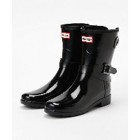 HUNTER/ハンター  ORIGINAL REFIND ADJUSTABLE SHORT GLOSS BOOT(WFS2008RGL) BLK 【三越・伊勢丹/公式】 靴~~レディースシューズ~...