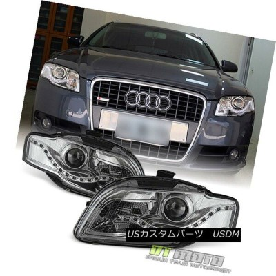 ヘッドライト 2006-2008 Audi A4 S4 B7 SMD LED DRL Halogen Type Projector Headlights Left+Right 2006-2008...