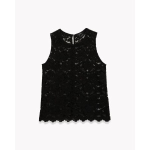 【Theory】Embroidered Lace Power Tee BL 総レースデザインのノースリーブブラウス。 ブラック 大人 セオリー レディース