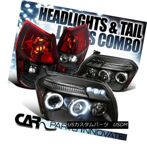 ヘッドライト Dodge 05-07 Magnum Black Halo LED DRL Projector Headlights+Red Tail Brake Lamps ドッジ05...
