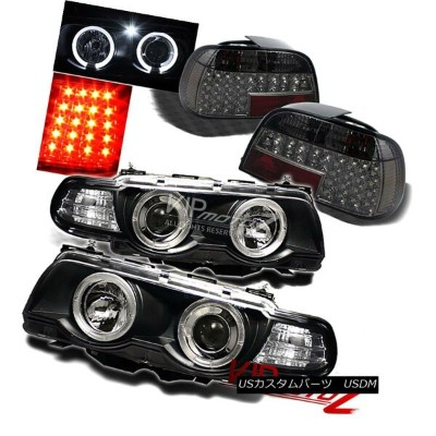 ヘッドライト {BLACK} Halo Projector Headlight+Smoke LED Tail Light 1999-2001 BMW E38 7-SERIES {BLACK...
