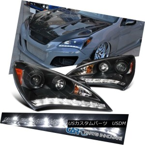 ヘッドライト For 10-12 Hyundai Genesis Coupe Black SMD LED DRL Projector Headlights Lamps 10-12 Hyundai...