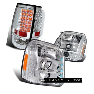 ヘッドライト 2007-2012 GMC Yukon XL Clear Projector Headlights+Chrome LED Tail Brake Lights 2007-2012 GMC...