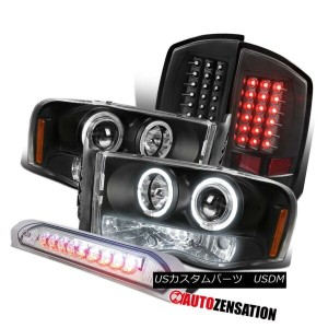 ヘッドライト 02-05 Ram 1500 2500 3500 Black Projector Headlight+LED Tail+Clear 3RD Brake Lamp 02-05 Ram...