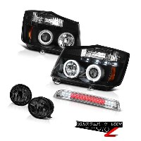 ヘッドライト Bright Angel Eye CCFL Headlight Tinted Fog Third Brake Cargo LED For 04-15 Titan ブライトエンジェルアイC...