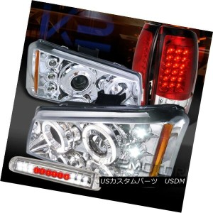 ヘッドライト 03-06 Silverado Clear Halo Projector Headlight+LED 3rd Stop+Red LED Tail Lamps 03-06...