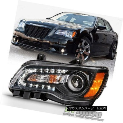 ヘッドライト Factor Style Black 2011-2014 Chrysler 300 Halogen LED DRL Headlight Driver Side ファクタースタイルブラック...