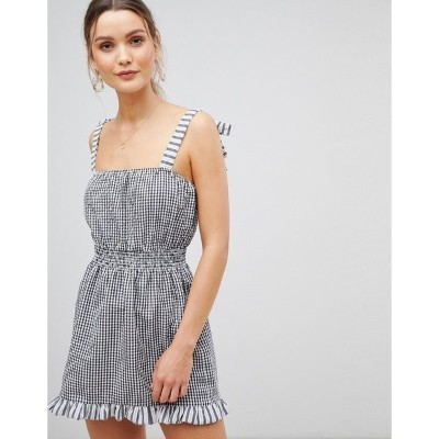 エイソス レディース ワンピース トップス ASOS DESIGN gingham tie shoulder shirred beach dress Black/white