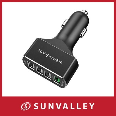 Quick Charge 3.0 USBカーチャージャー RAVPower 54W 4ポート 車載充電器 急速充電 iPhone iPad Android スマホ タブレット 対応