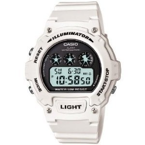 Casio #W214HC-7AV Men's White Chronograph Alarm LCD Digital Sports Watch【並行輸入】