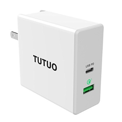 TUTUO 60W USB C PD 急速充電器 Type-C Power Delivery + Quick Charge 3.0 チャージャー AC アダプター for MacBook Pro...
